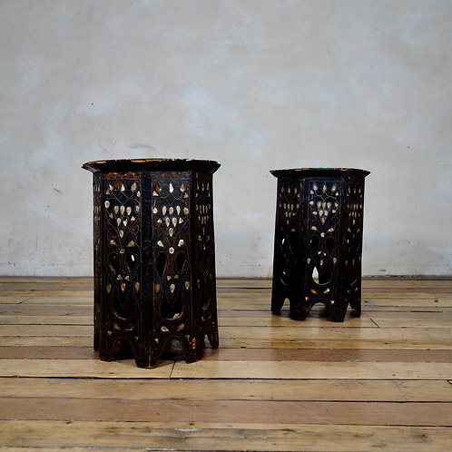 A Pair Of Small Early 19th Century Ebonised Syrian Octagonal Table