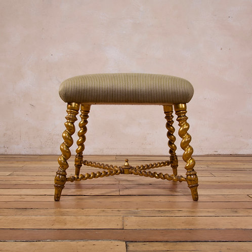 A 19th Century French Square Giltwood & Upholstered Stool.
