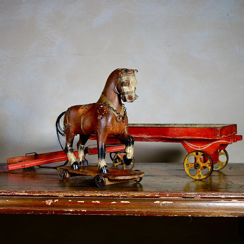 19th Century Folk Hand Painted Pull Horse