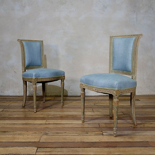 A Pair Of French 19th Century Louis XVI Style Upholstered Side Chairs