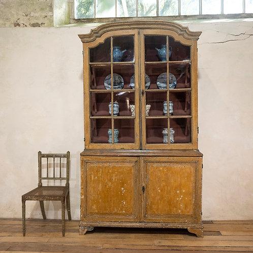 An Elegant 18th Century Dutch Vitrine Original Painted Glazed Cabinet
