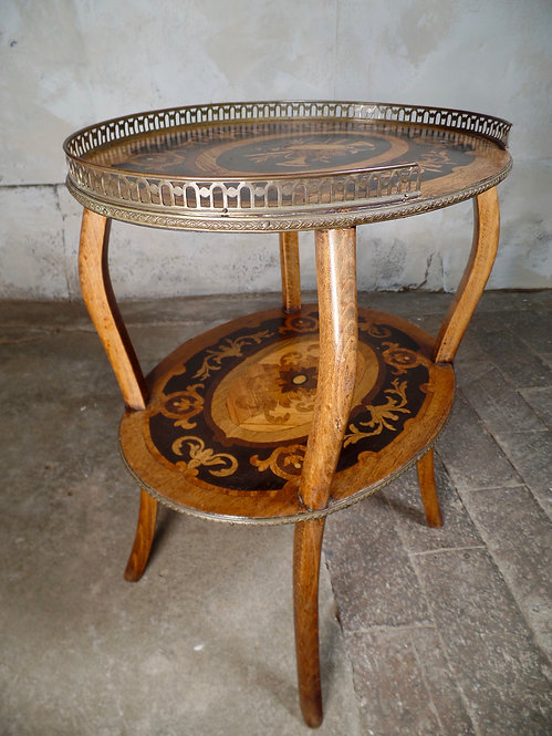 Antique French Etagere Walnut Bronze Two Tier Side Table Inlaid Marqutery