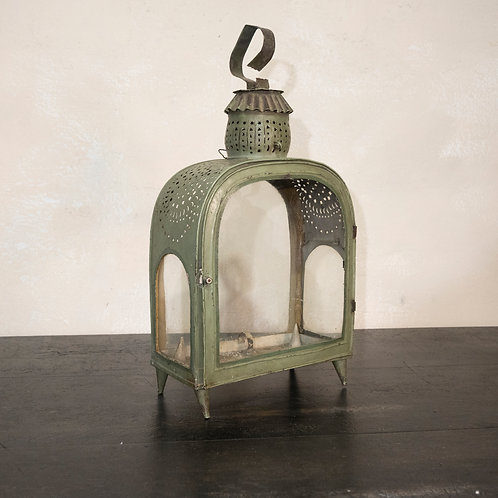 A 20th Century French Green Tole Lantern