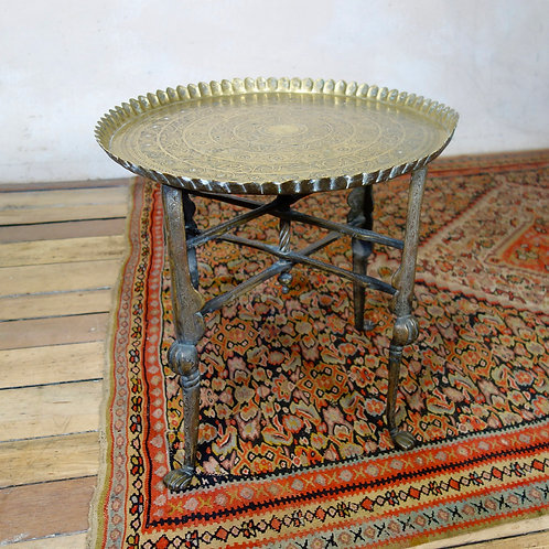 An 18th Century Small Moorish Brass Tray Top Folding Table