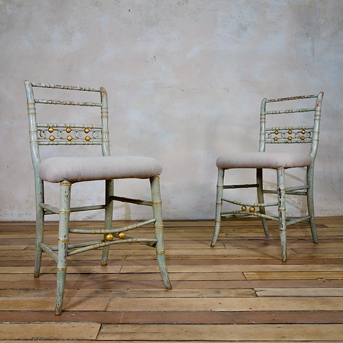 A Pair Of Regency Faux Bamboo Original Painted Side Chairs