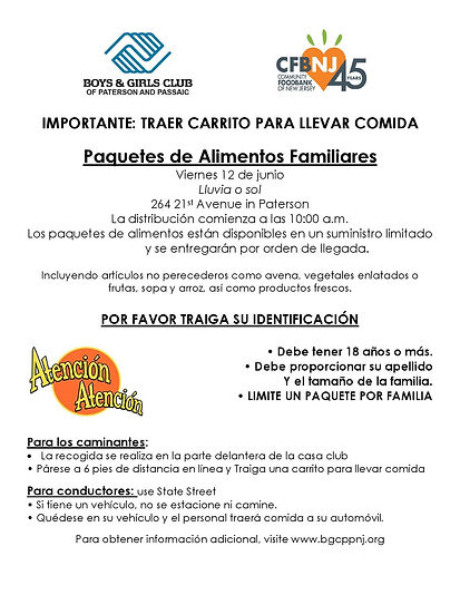 Food Distribution Flyer Paterson SPANISH