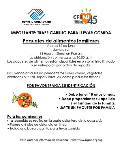 Food Distribution Flyer Passaic SPANISH-