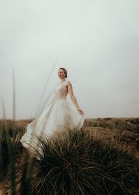Braut in den duenen auf sylt brautkleid