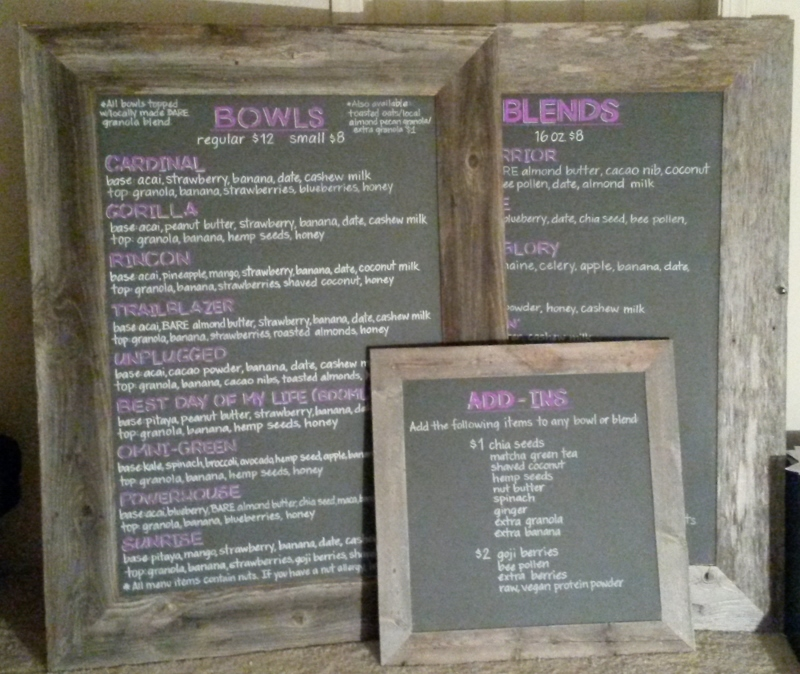 Menu Chalk Art for Bare Bowls