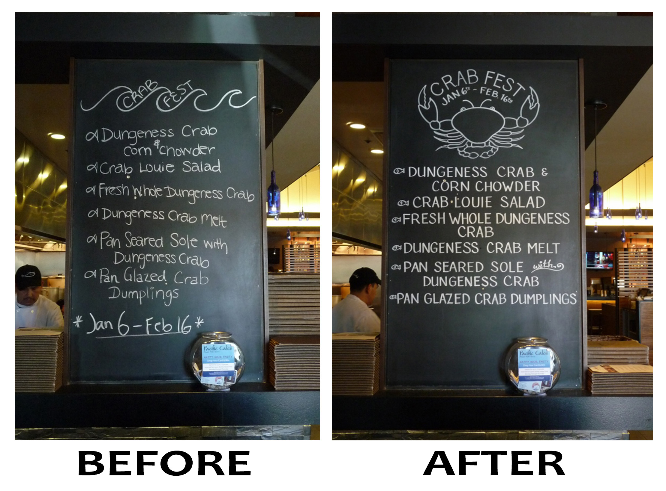 Before/After Crab Fest Main Board
