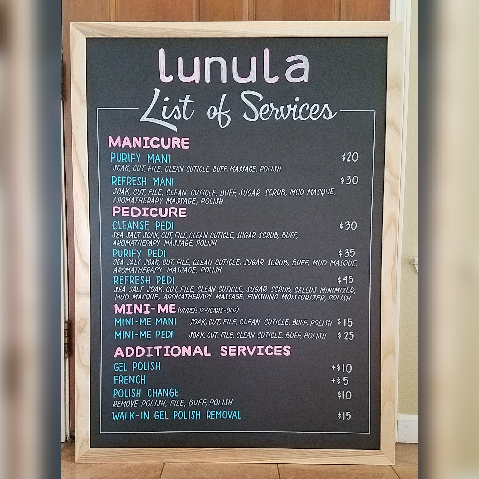 Nail Salon Services Menu