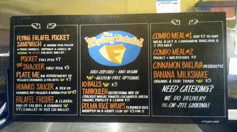 The Flying Falafel Menu Design