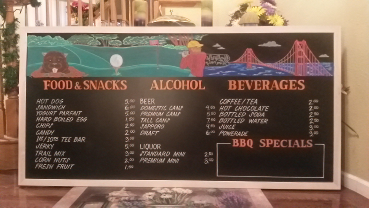 Golf Course Cafe Menu Board