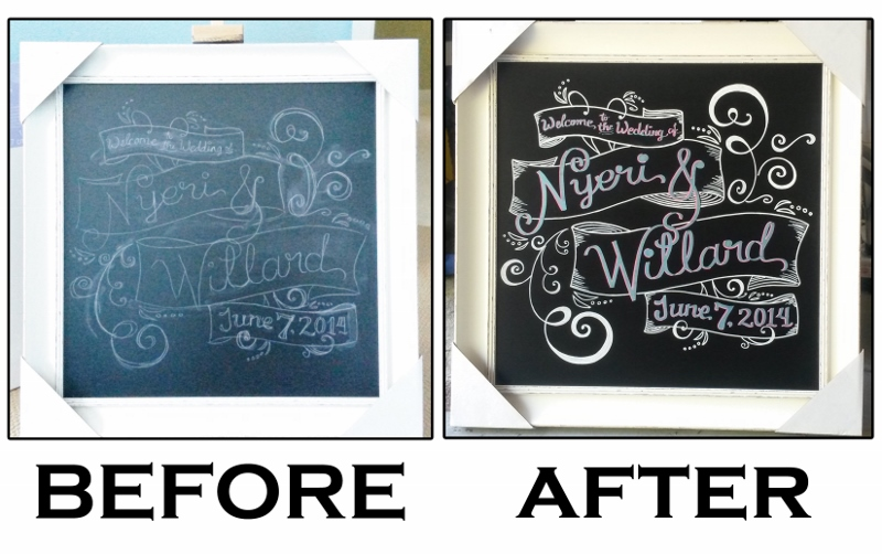 Before/After Wedding Welcome Board