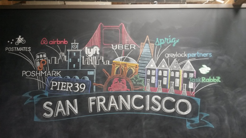 Corporate Party SF Theme Chalk Mural