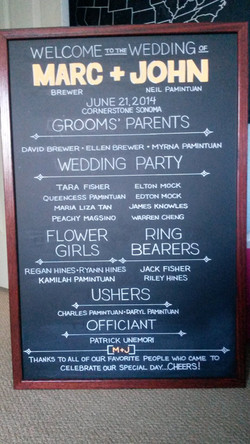 Wedding Program Chalkboard Art