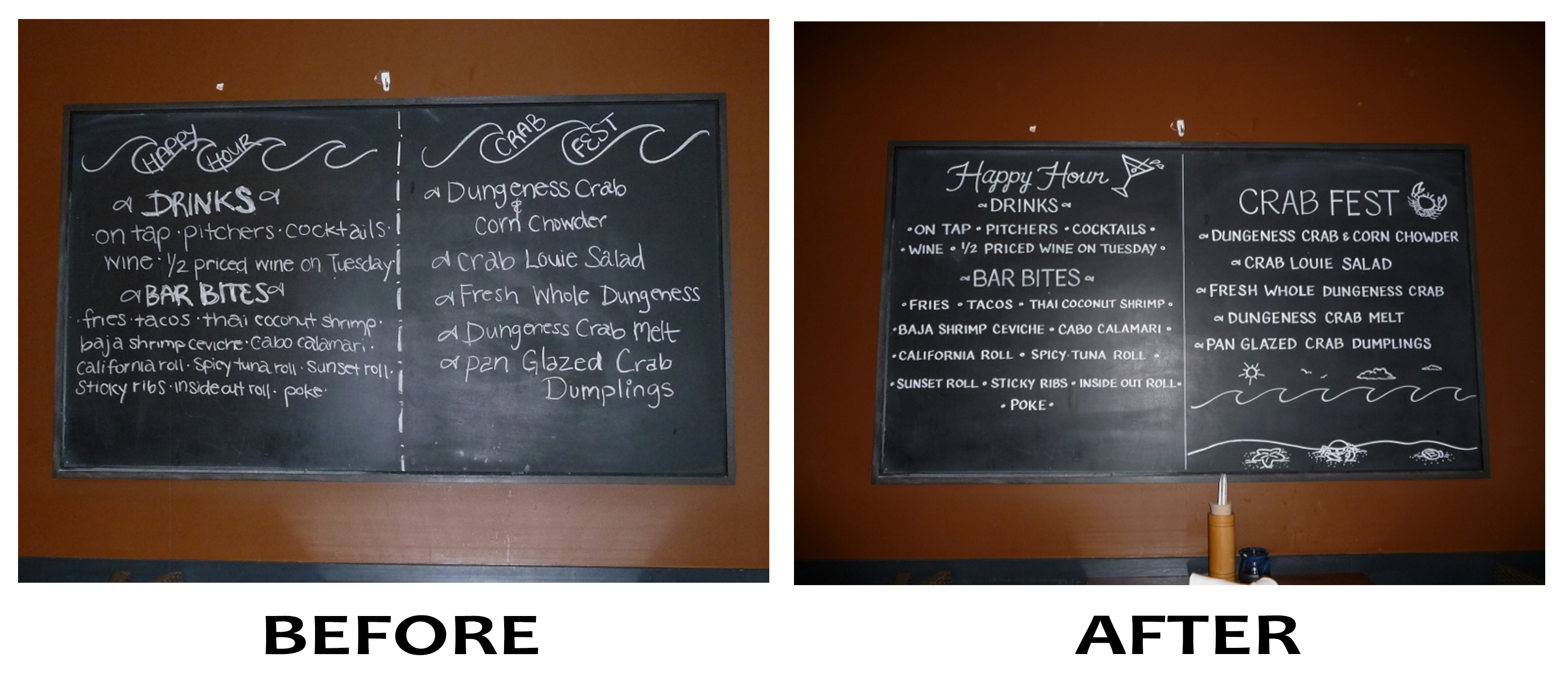 BeforeAfter Drink & Crab Fest Board