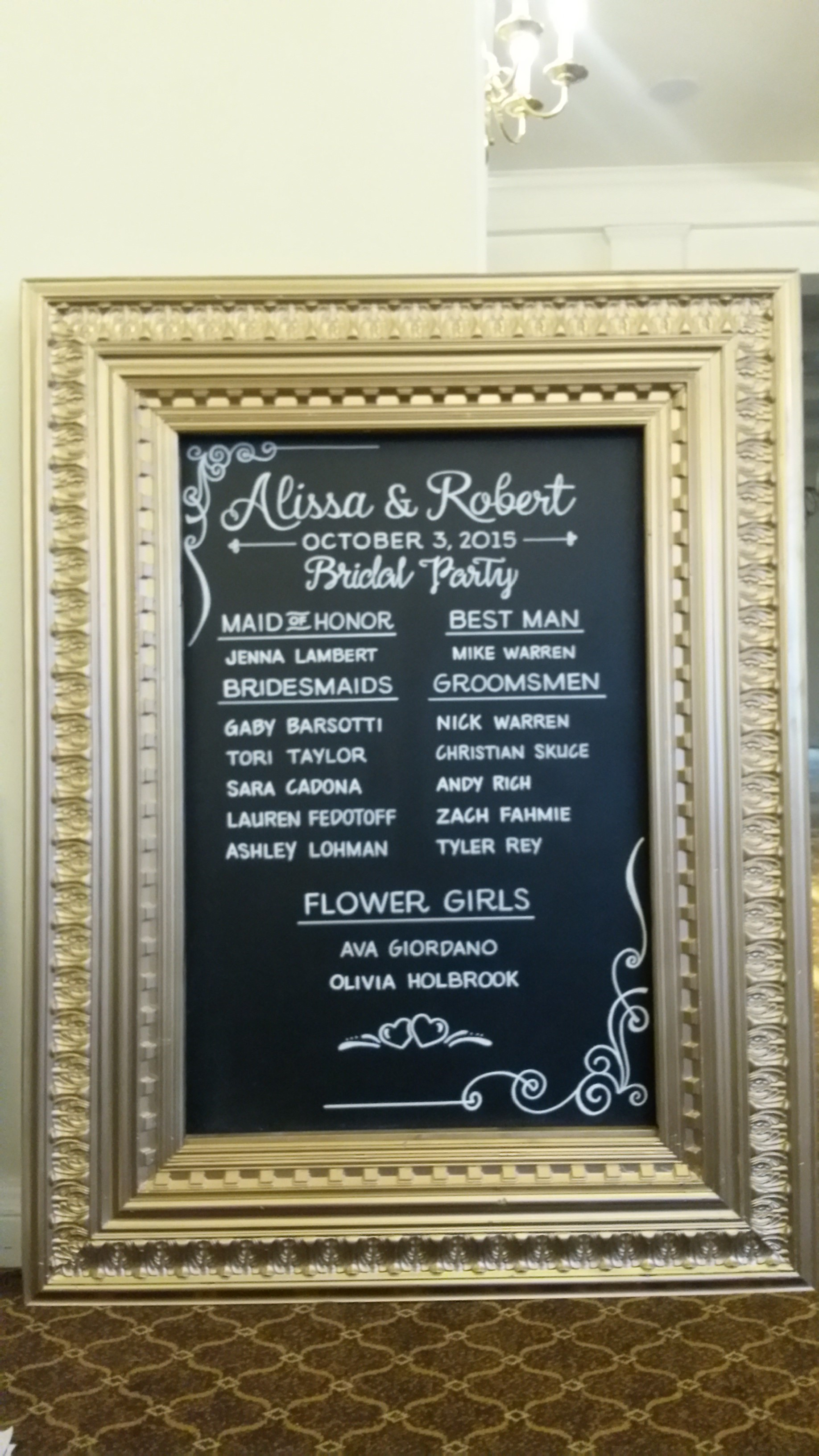 Wedding Party Chalkboard