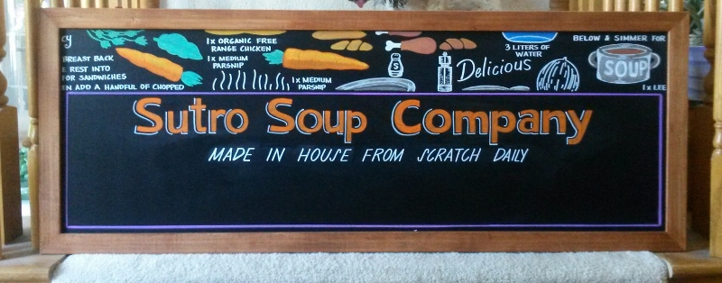 Sutro Soup Company Menu Board