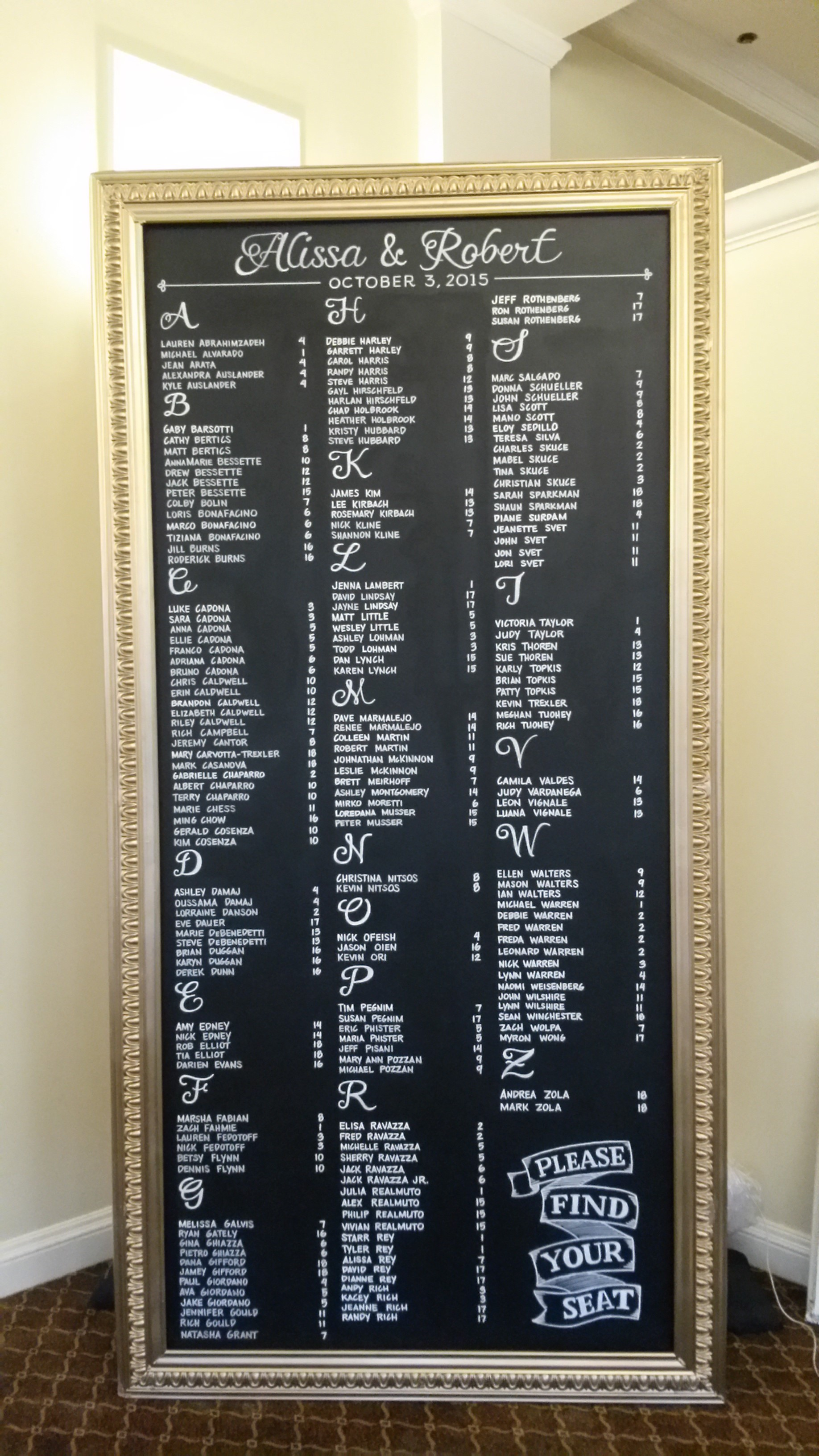 8 Ft. Wedding Seating Chart