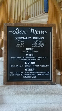 Wedding Bar Menu
