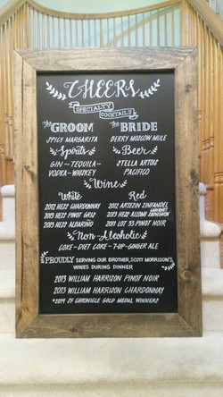 Wedding Drink Menu Chalk Art Design