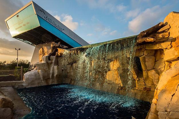 Artificial rock work waterfalls