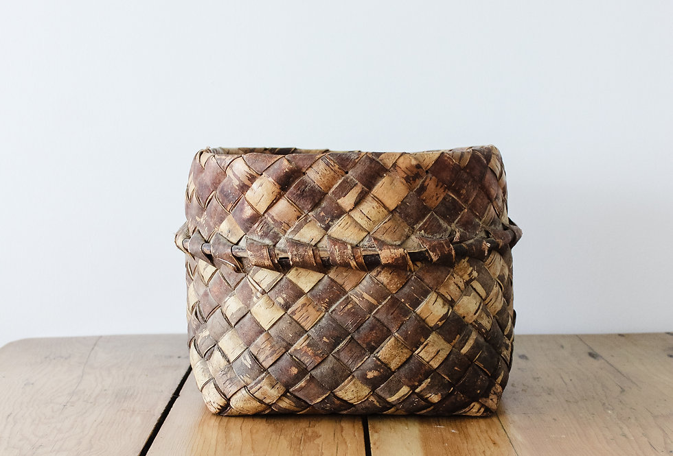Vintage Handbraided Bark Basket