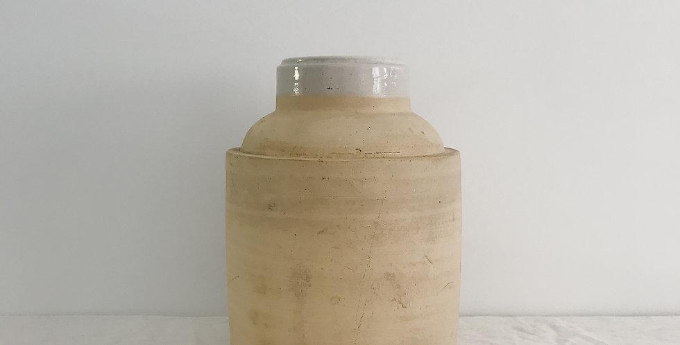 Matte Cream Crock with White Glazed Rim