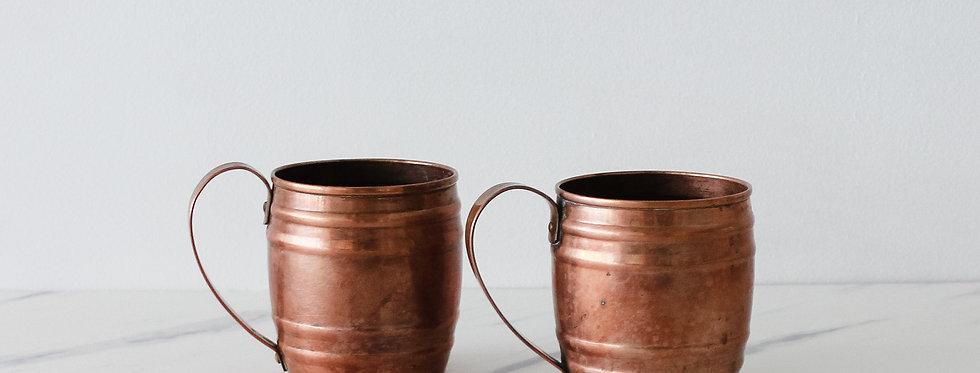 Pair of Vintage Copper Mugs