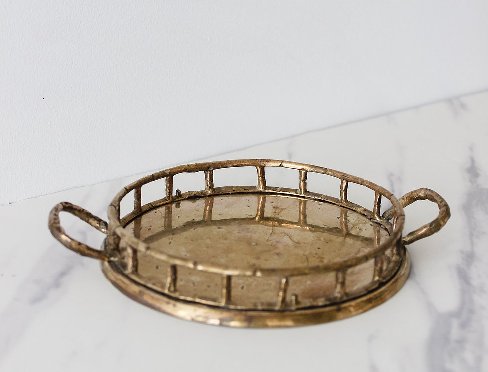 Small Gold Tray with Bamboo Details