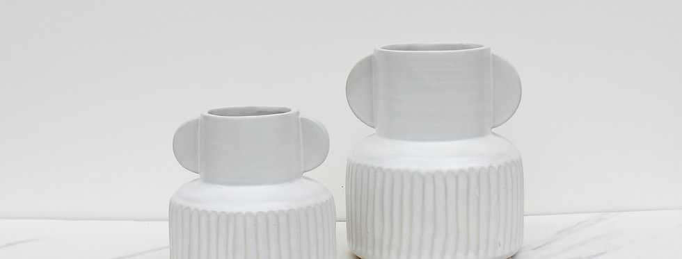 Stoneware Pleated Vases