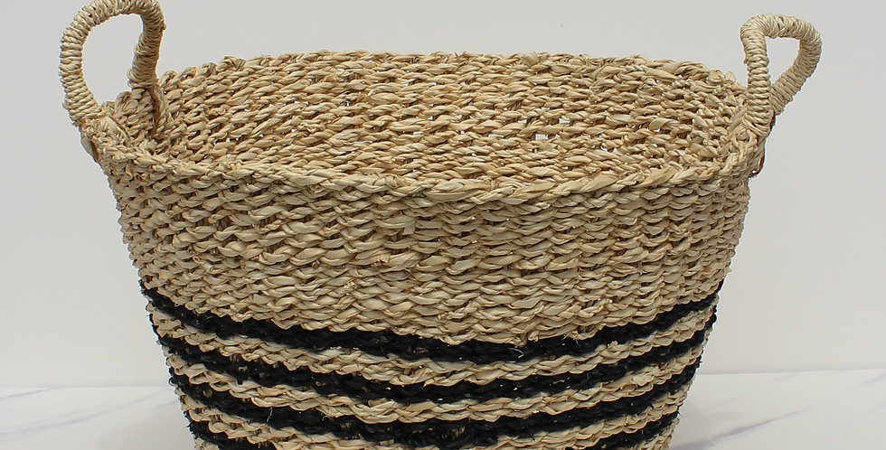 Woven Palm & Seagrass Striped Baskets w/ Handles