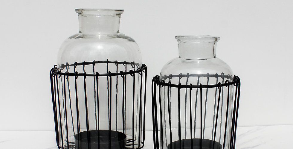 Glass Candle Holder with Wire Cage