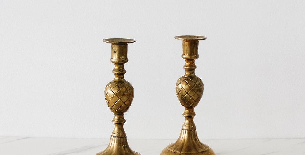 Vintage Brass Candlestick Set 03