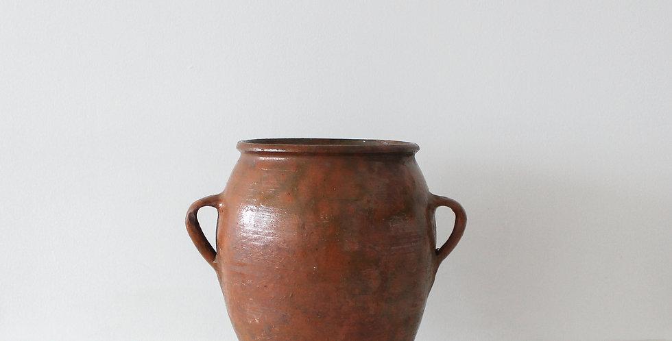 Large Vintage Urn Style Pot, Burnt Orange