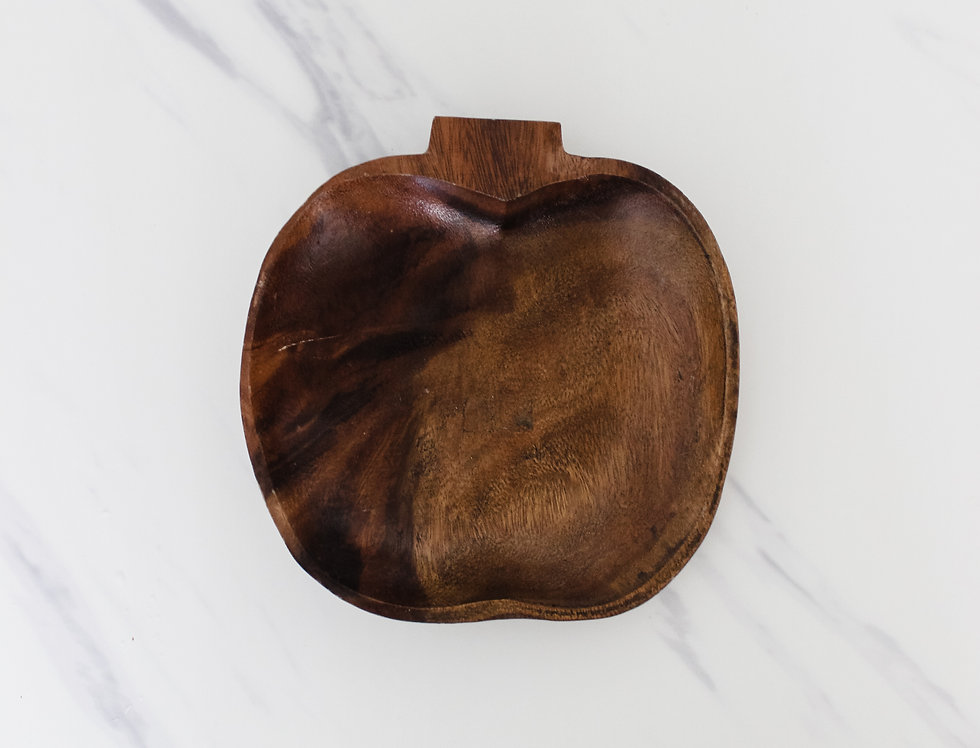 Midcentury Modern Carved Wooden Apple Dish