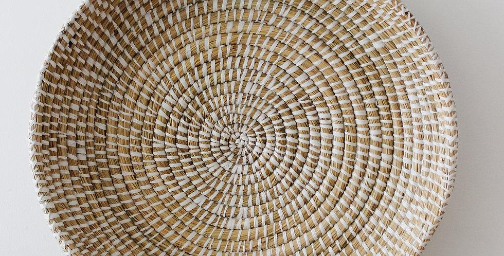 Hand-Woven Grass Basket Tray w/ Handles
