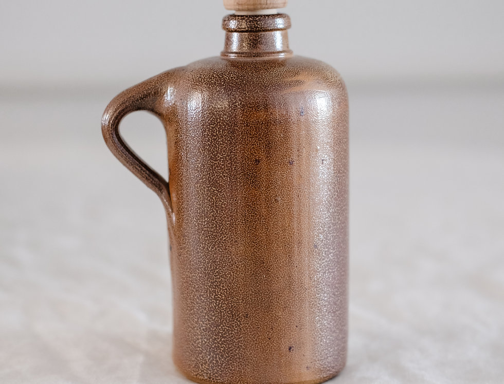 Small Vintage Brown Jug with Stopper