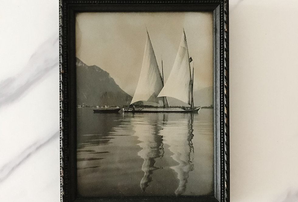 Vintage Sailboat Print, Framed