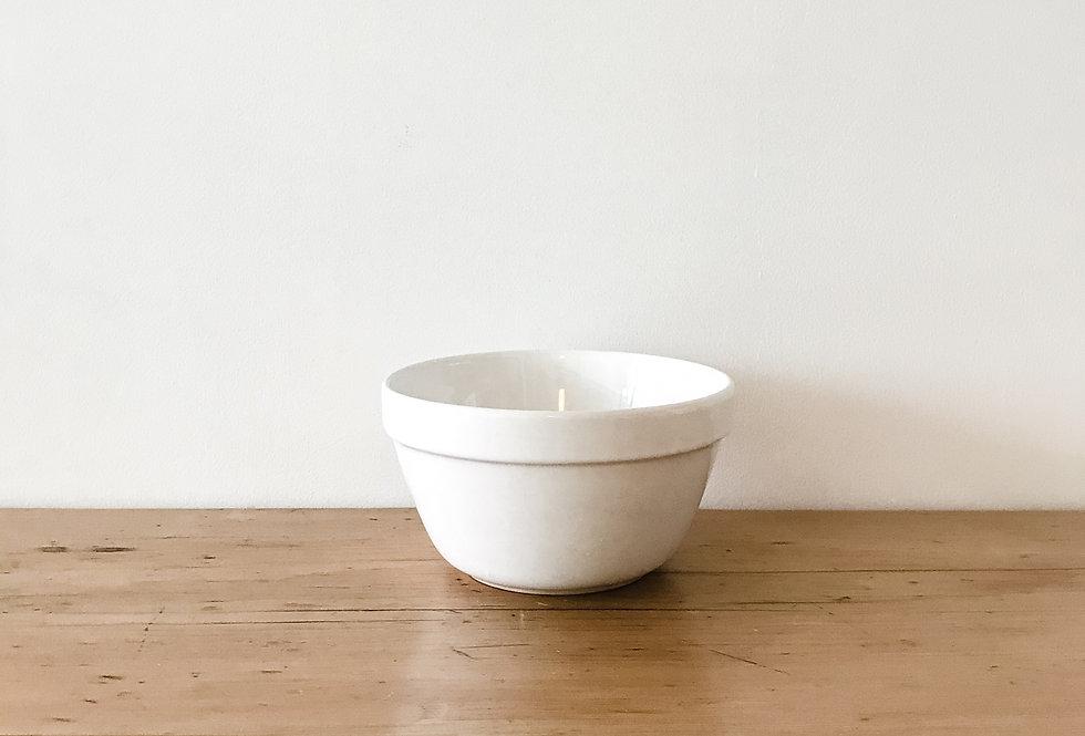 Medium Vintage White Pudding Bowl