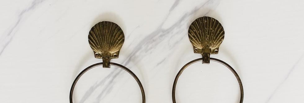 Pair of Vintage Brass Seashell Towel Rings