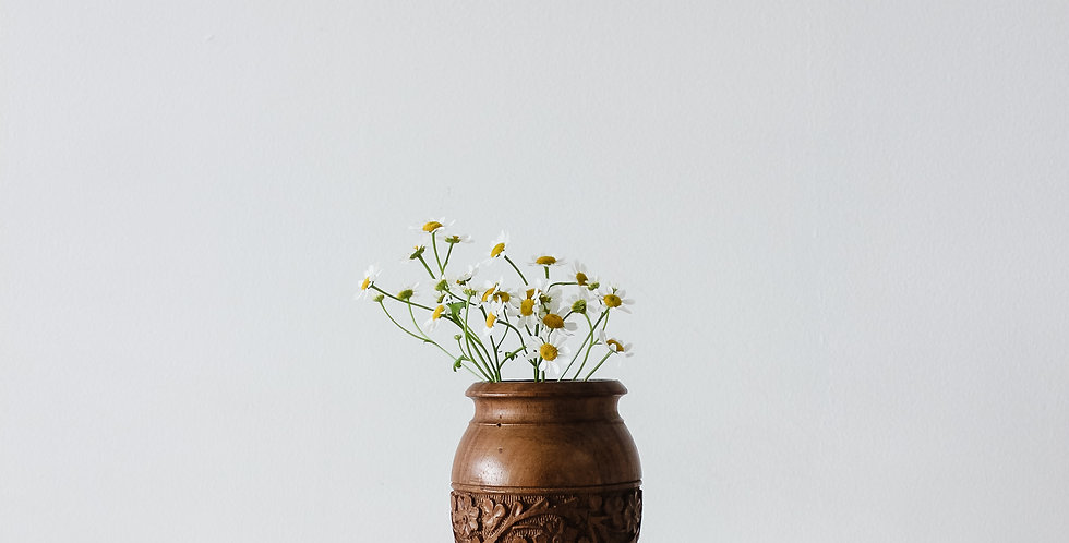 Hand Carved Wooden Bud Vase with Lid