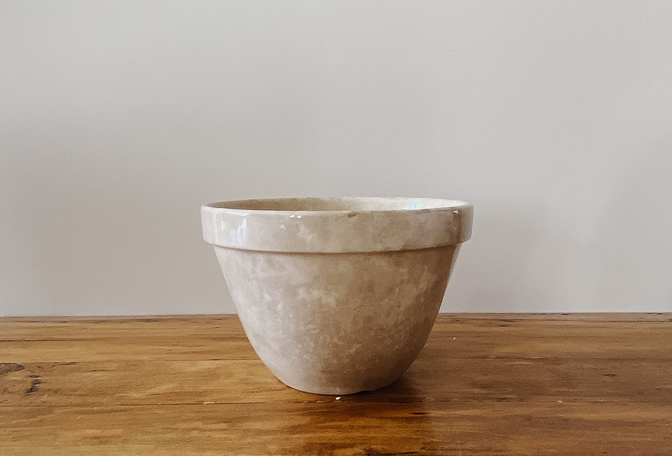Vintage Cream Glazed Pudding Bowl
