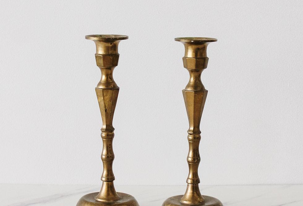 Vintage Brass Candlestick Set 01