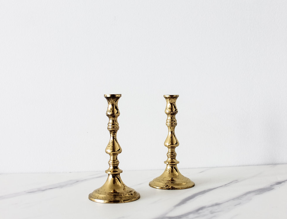 Vintage Brass Candlestick Set 08 - for Thin Candles