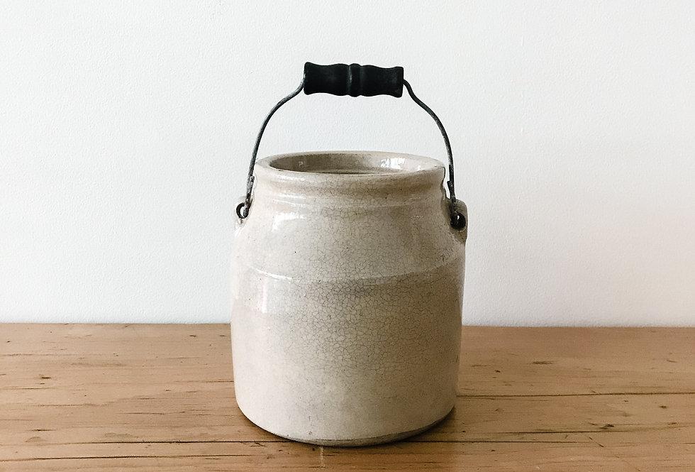 Crackled Glaze Crock with Handle