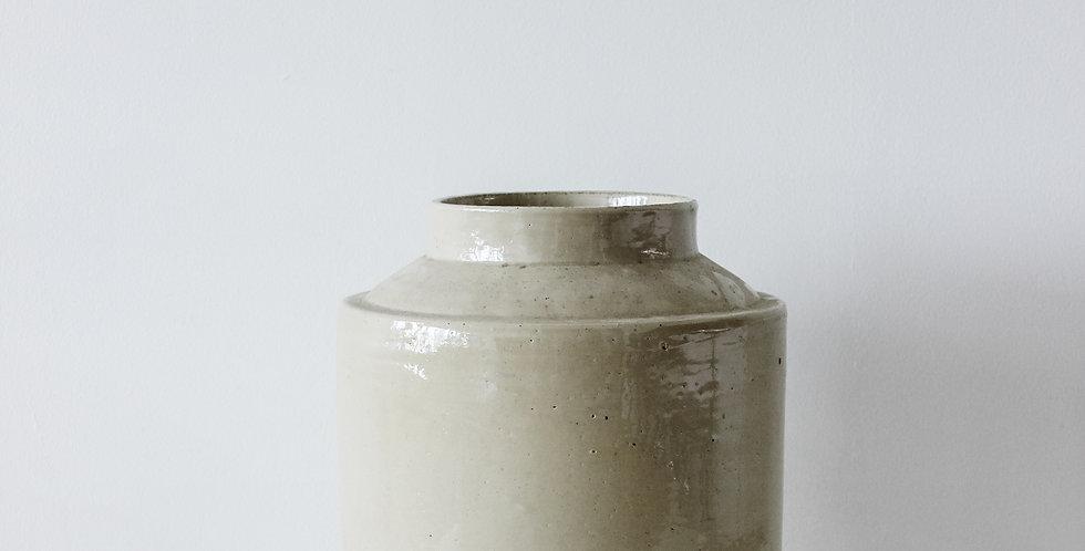 Large Vintage Stoneware Crock with Recessed Lid