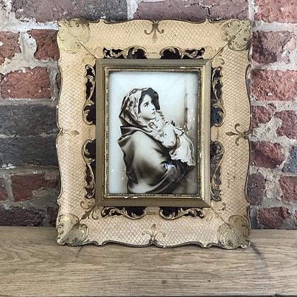 Impression photo sur verre bombé cadre bois sculpté - S109