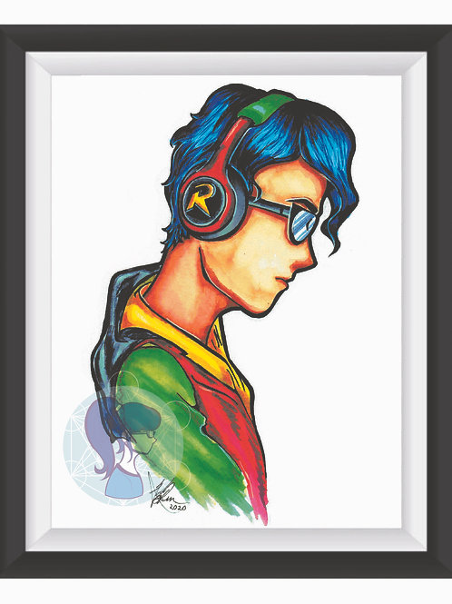 Robin in Thought Art Print